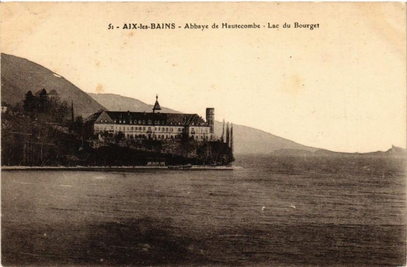 Carte postale ancienne Aix-les-Bains - Abbaye de Hautecombe. Lac du Bourget à Aix-les-Bains
