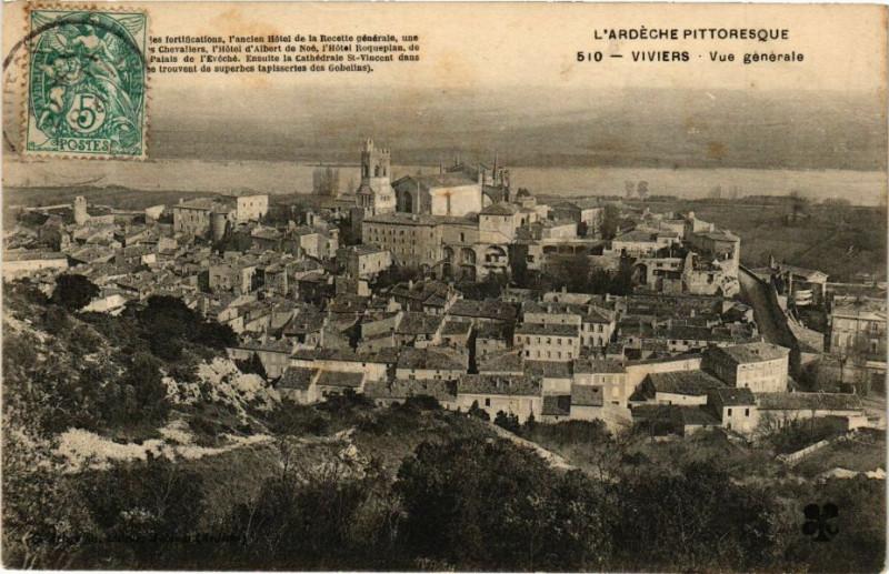 Carte postale ancienne Viviers - Vue générale à Viviers