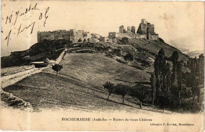 Carte postale ancienne Rochemaure - Ruines du vieux Cheteau à Rochemaure