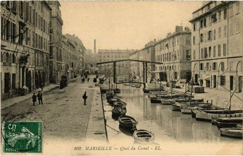 Carte postale ancienne Marseille - Quai du Canal à Marseille