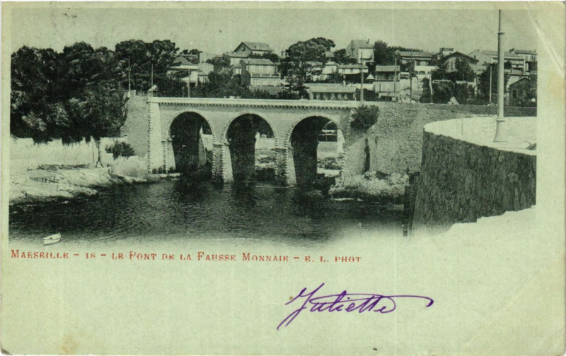 Carte postale ancienne Marseille le pont de la Fausse Monnaie à Marseille