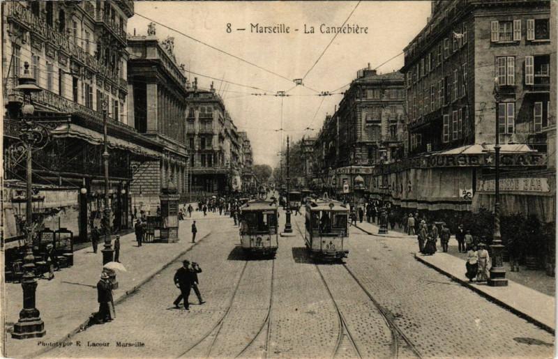 Carte postale ancienne Marseille La Cannebiere à Marseille
