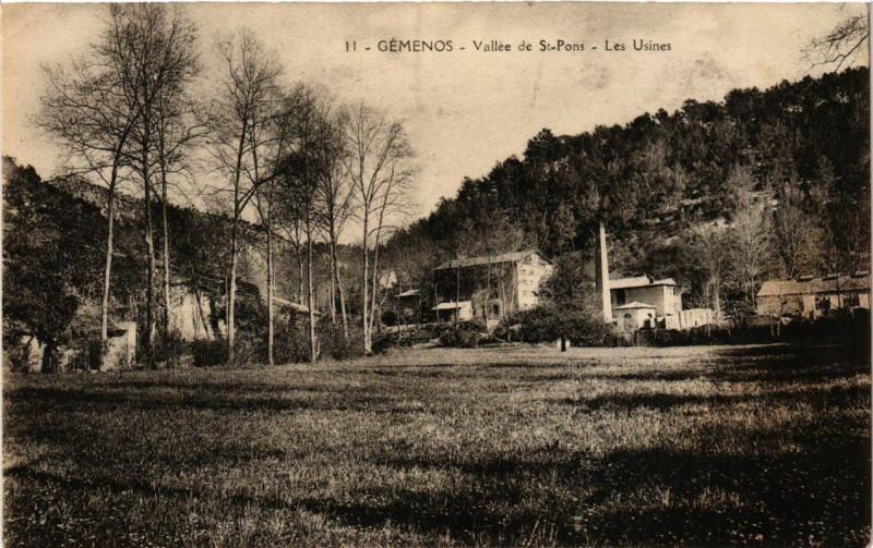 Carte postale ancienne Gemenos - Vallee de St-Pons . Les Usines à Gémenos