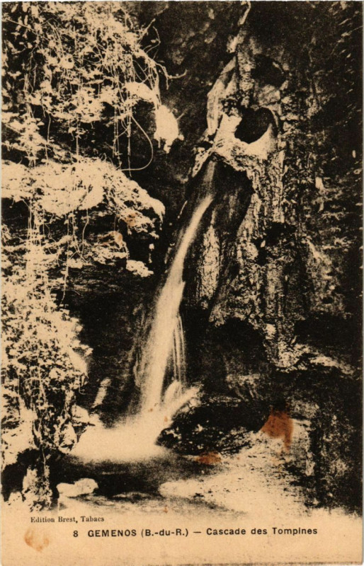Carte postale ancienne Gemenos - Cascade des Tompines à Gémenos