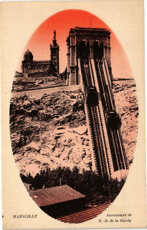 Carte postale ancienne Marseille-Ascenseurs de Notre Dame de la Garde à Marseille