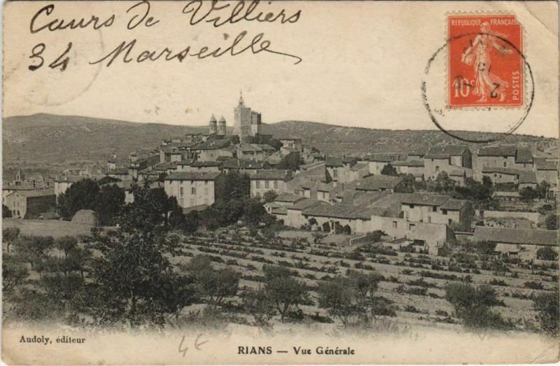 Carte postale ancienne Rians Vue Generale à Rians
