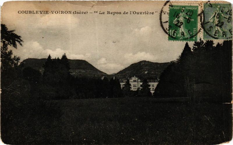 Carte postale ancienne Coublevie-Voiron - Le Repos de l'Ouvriere - Vue générale à Coublevie