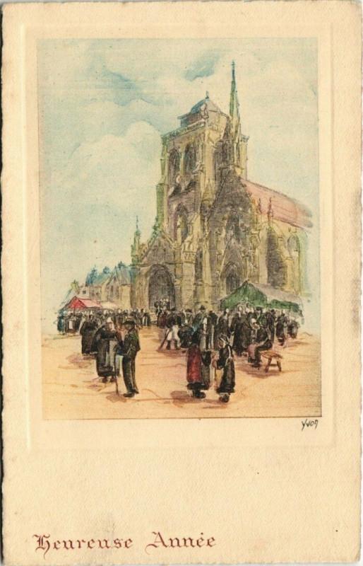 Carte postale ancienne Locronan Eglise à Locronan