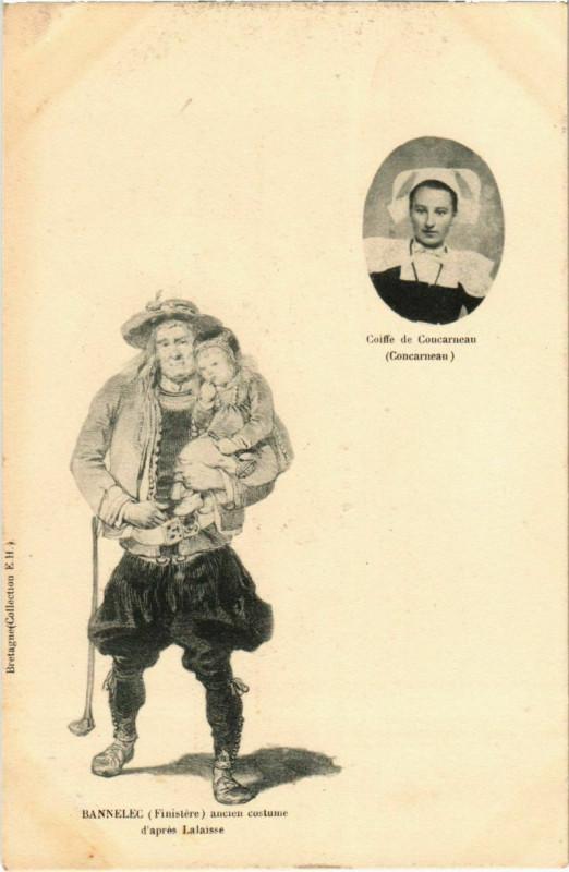 Carte postale ancienne Bannalec- Ancien costume d'apres Lalaisse France à Bannalec