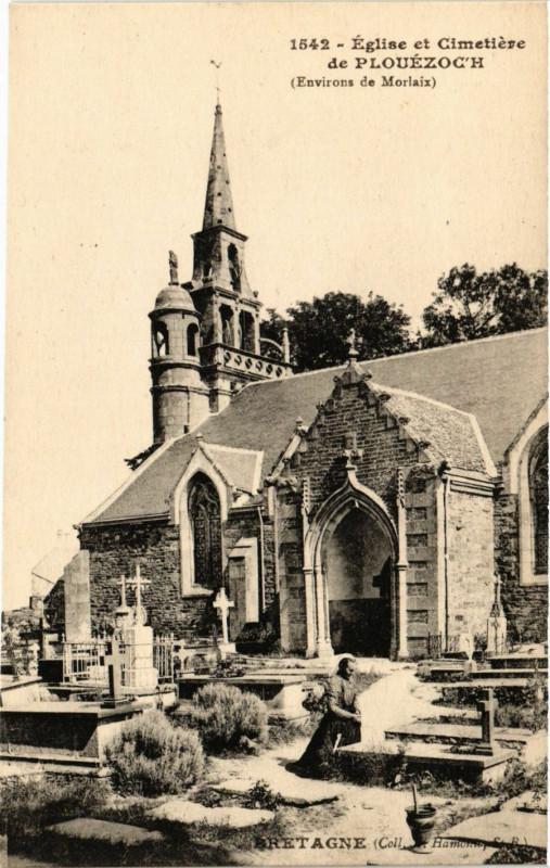 Carte postale ancienne Plouezoc'h - Env. de Morlaix - Eglise et Cimitiere à Plouezoc'h