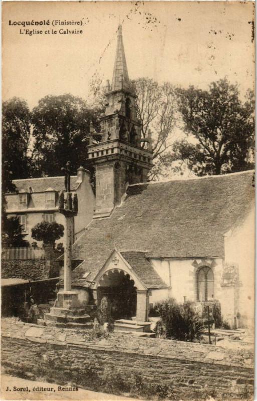 Carte postale ancienne Locquenole L'Eglise et le Calvaire à Locquénolé