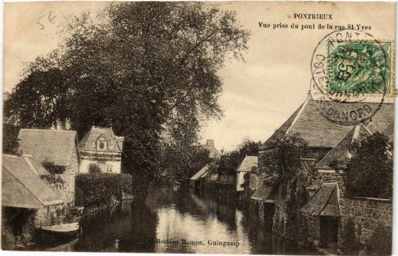 Carte postale ancienne Pontrieux - Vue prise du pont de la rue St-Yves à Pontrieux