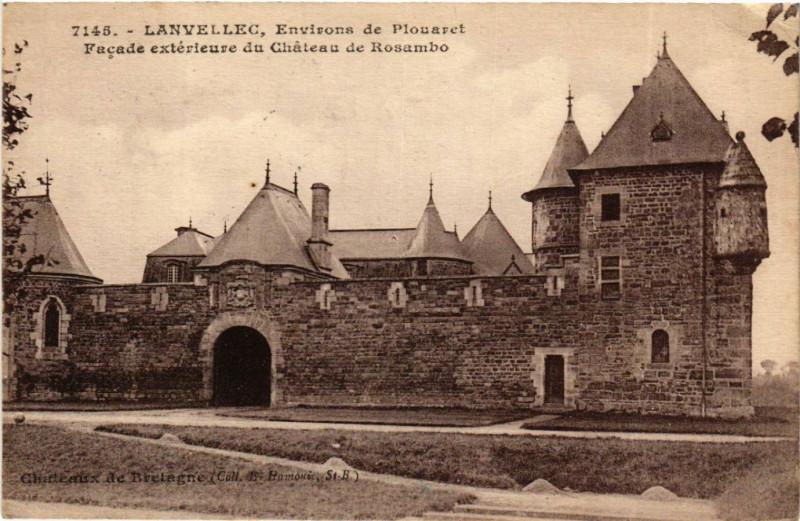 Carte postale ancienne Lanvellec - Env. de Plouaret - Chateau de Rosambo à Lanvellec