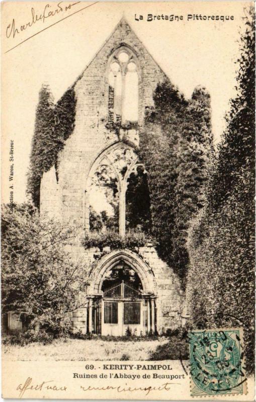 Carte postale ancienne Kerity-Paimpol - Ruines de l'Abbaye de Beauport à Paimpol