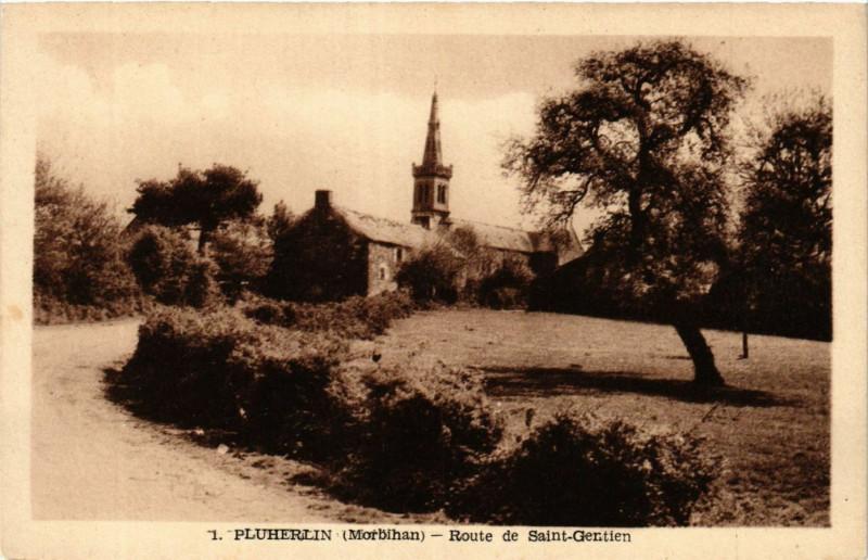 Carte postale ancienne Pluherlin - Route de St-Gentien à Pluherlin
