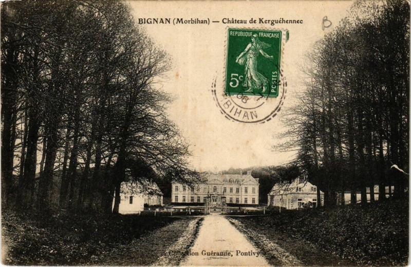Carte postale ancienne Bignan - Chateau de Kerguehennec à Bignan