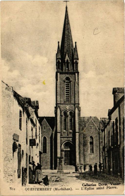 Carte postale ancienne Questembert - L'Eglise St-Pierre à Questembert