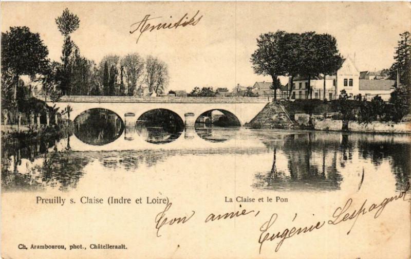 Carte postale ancienne Preuilly-sur-Claise La Claise et le Pon à Preuilly-sur-Claise