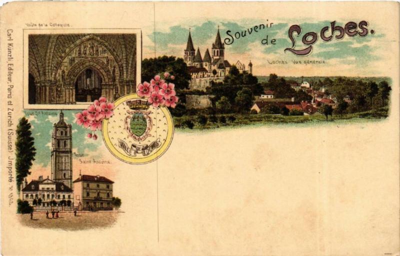 Carte postale ancienne Souvenir de Loches à Loches