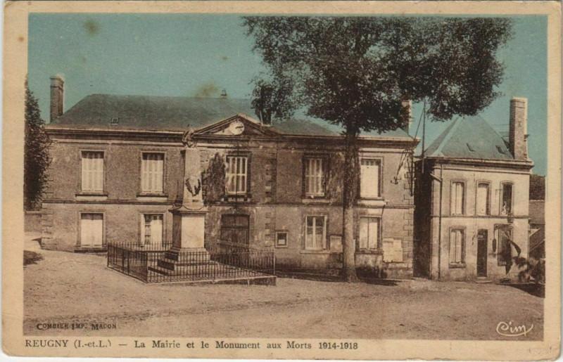 Carte postale ancienne Reugny - La Mairie Et Le Monument Aux Morts à Reugny