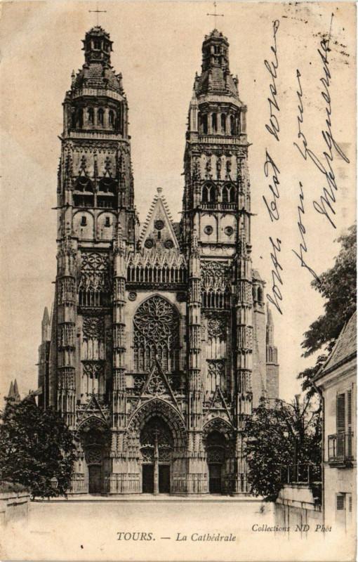 Carte postale ancienne Tours - La Cathedrale à Tours