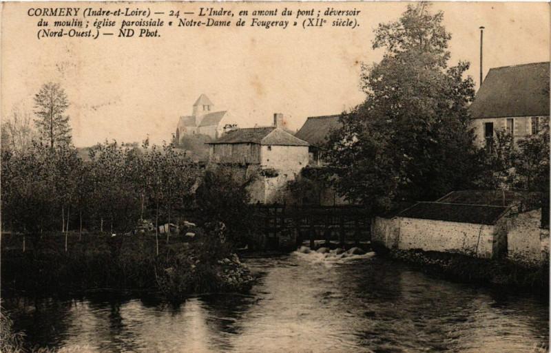 Carte postale ancienne Cormery - L'Indre en amont du pont deversoir du moulin Eglise pa à Cormery