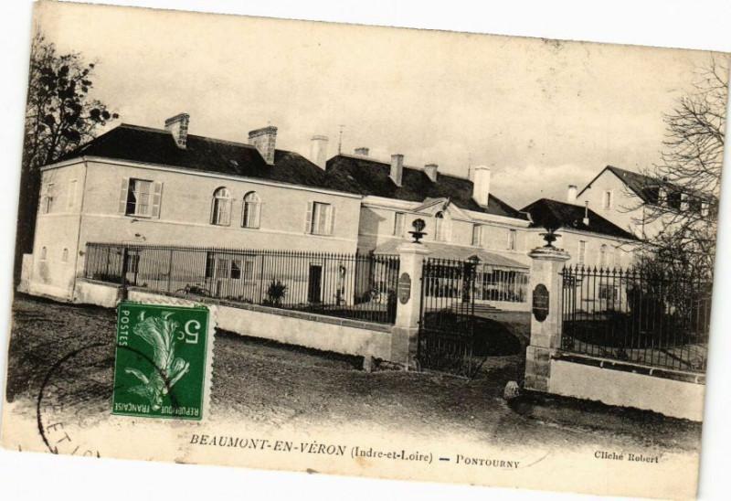 Carte postale ancienne Beaumont-en-Véron - Pontourne à Beaumont-en-Véron
