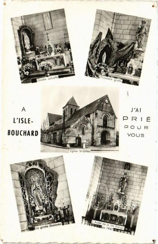 Carte postale ancienne A L'Isle Bouchard - J'ai Prié pour vous à Vou