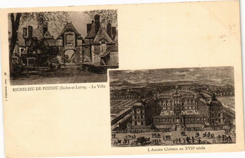 Carte postale ancienne Richelieu - de-Poitou - La Ville - L'Ancien Chateau à Richelieu