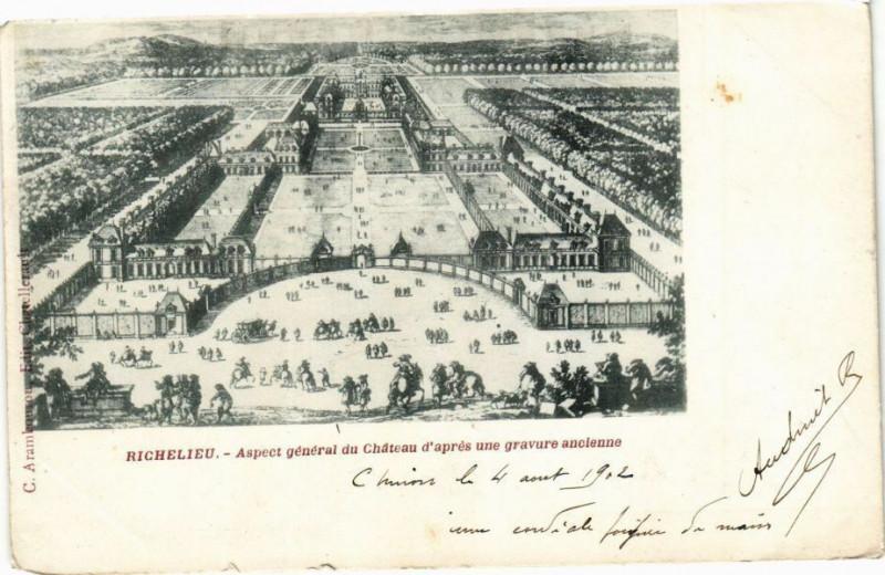 Carte postale ancienne Richelieu - aspect général du Chateau d'apres une gravure ancienne à Richelieu