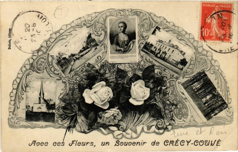 Carte postale ancienne Crecy-Couve - Crécy-Couvé - Scenes - Avec ces Fleurs à Crécy-Couvé