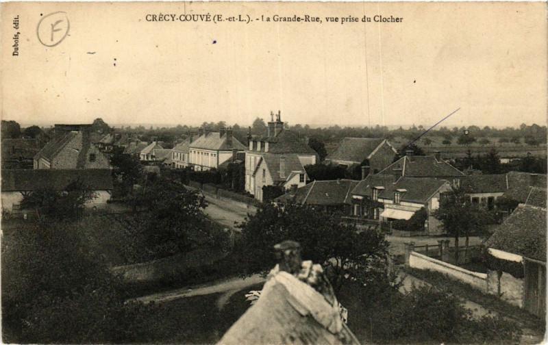 Carte postale ancienne Crecy-Couve - Crécy-Couvé - La Grande-Rue - vue prise du Clocher à Crécy-Couvé