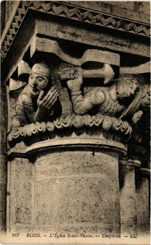 Carte postale ancienne Blois - L'Eglise St-Nicolas - Chapiteau à Blois