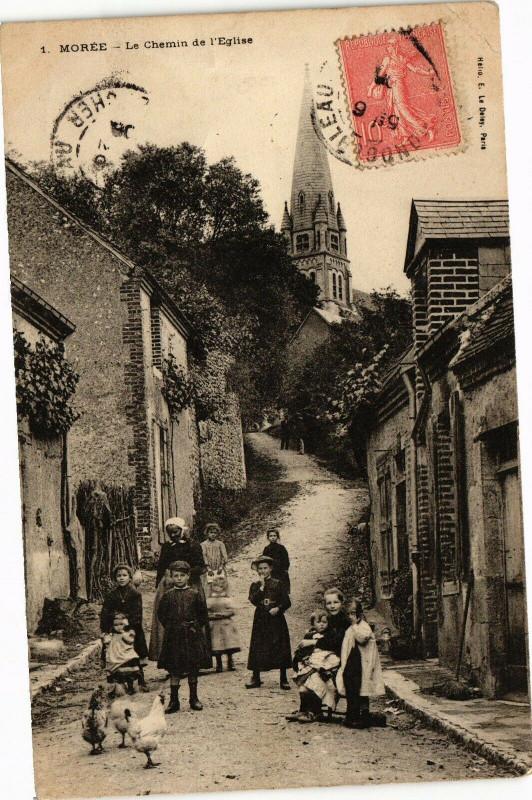 Carte postale ancienne Moree - La Chemin de l'Eglise à Morée