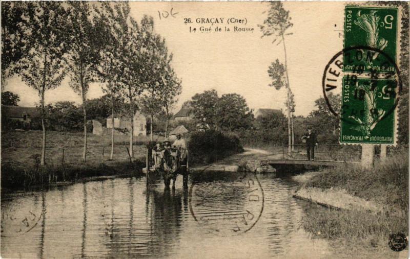 Carte postale ancienne Gracay - Le Gué de la Rousse à Graçay