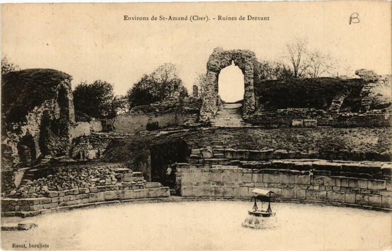 Carte postale ancienne Drevant - Ruines de Drevant - Env. de St-Amand-Montrond à Drevant