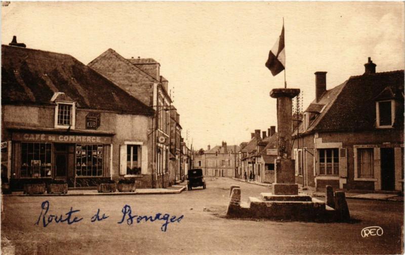 Carte postale ancienne Bruere-Allichamps - Colonne centre de la France et Rue de la Poste à Bruère-Allichamps
