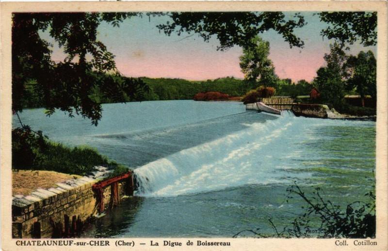 Carte postale ancienne Chateauneuf-sur-Cher La Digue de Boissereau à Châteauneuf-sur-Cher