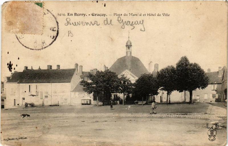 Carte postale ancienne En Berry Gracay Place du Marche et Hotel de Ville à Graçay