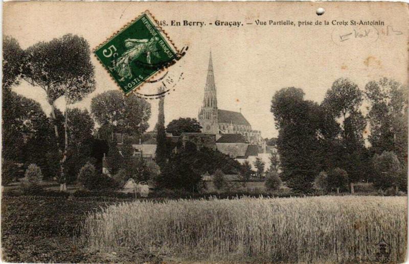 Carte postale ancienne En Berry Gracay Vue Partielle, prise de la Croix St-Antoinin à Graçay