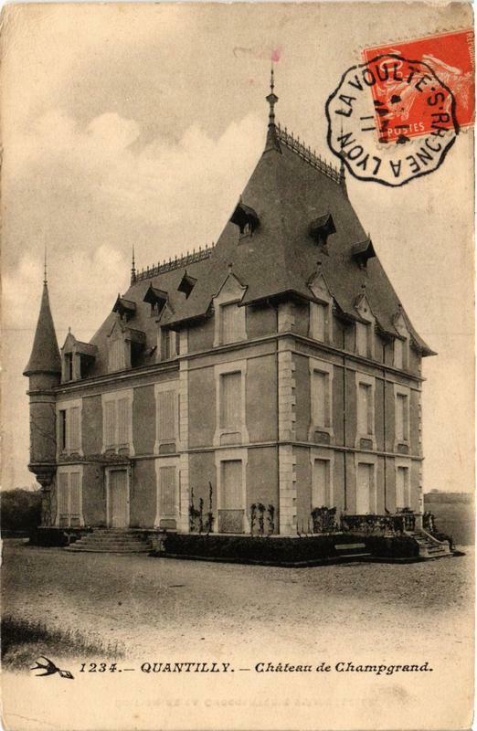 Carte postale ancienne Quantilly Chateau de Champgrand à Quantilly