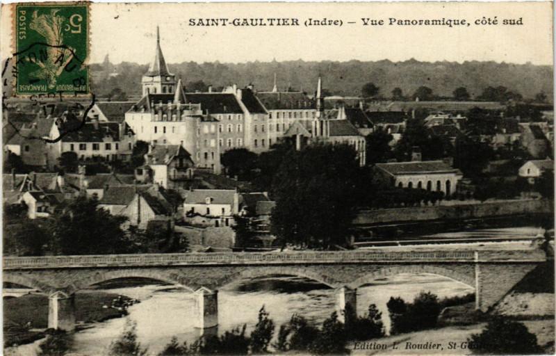 Carte postale ancienne Saint-Gaultier - Vue Panoramique coté sud à Saint-Gaultier