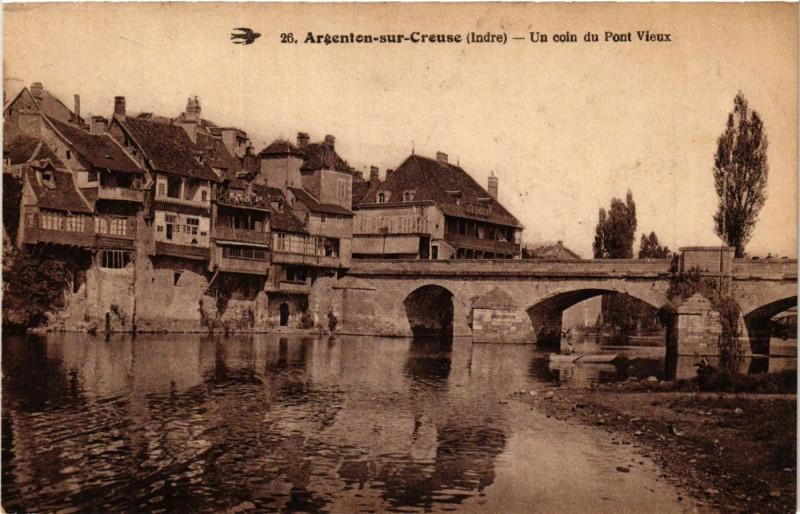 Carte postale ancienne Argenton-sur-Creuse - Un coin du Pont Vieux à Argenton-sur-Creuse