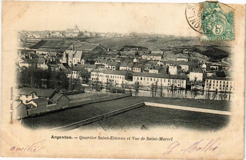 Carte postale ancienne Argenton - Quartier Saint-Etienne et Vue de Saint-Marcel à Saint-Marcel