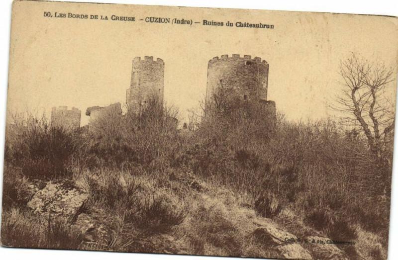 Carte postale ancienne Les Bords de la Creuse - Cuzion - Ruines du Chateaubrun à Cuzion