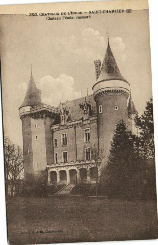 Carte postale ancienne Chateaux de L'Indre - Saint-Chartier - Chateau Féodal restauré à Saint-Chartier