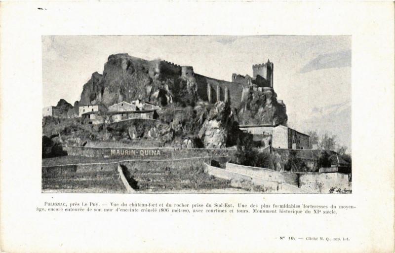 Carte postale ancienne Polignac - pres Le Puy-en-Velay - Vue du Chateau-Fort à Polignac