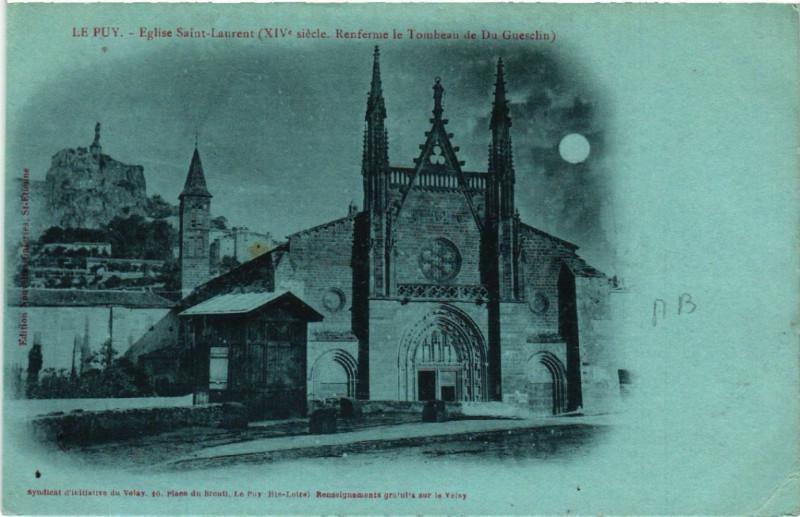 Carte postale ancienne Le Puy - Eglise Saint-Laurent (Xiv siecle-Renferme le Tombeau de