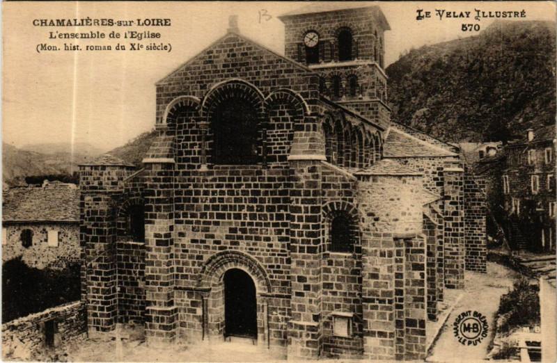 Carte postale ancienne Chamalieres-sur-Loire L'ensemble de l'Eglise (Mon.h. roman du XIs à Chamalières-sur-Loire