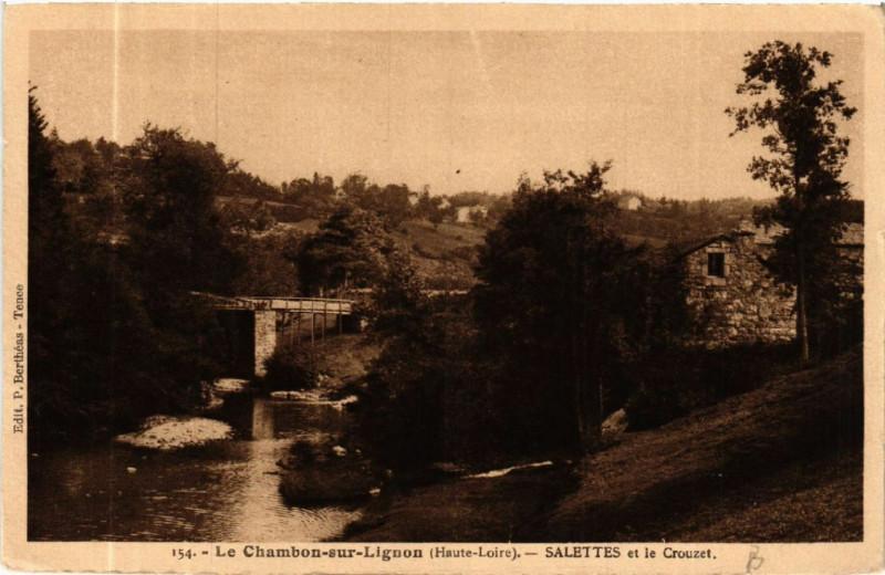 Carte postale ancienne Le Chambon-sur-Lignon (Haute-Loire) -Salettes et le Crouzet à Salettes